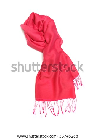 pink scarf isolated on white - stock photo