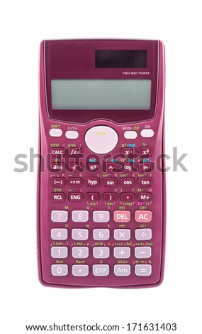 Pink scientific calculator isolated on white background - stock photo