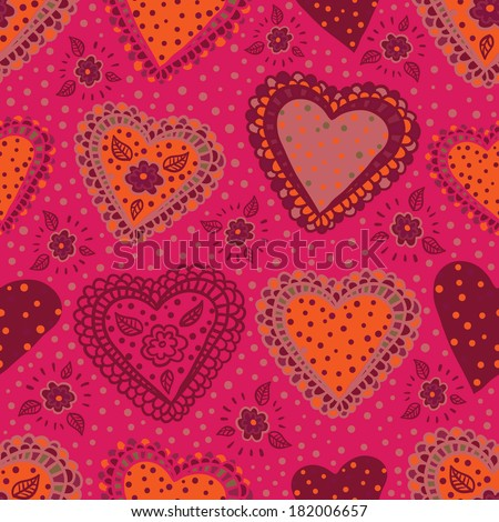 Pink seamless pattern sweet hearts. Raster version. - stock photo