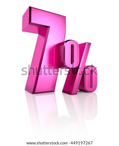 Pink seven percent sign isolated on white background. 3d rendering - stock photo