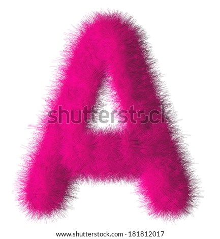 Pink shag A letter isolated on white background - stock photo