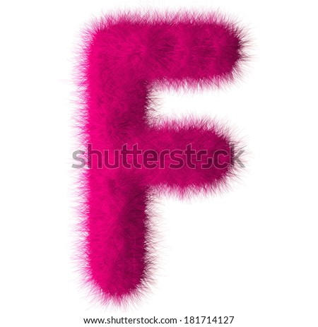 Pink shag F letter isolated on white background - stock photo