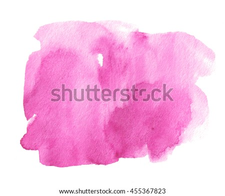 Pink shape watercolor ink dark hand drawn paper grain texture isolated stain on white background for decoration, text design, template. Abstract water color vivid art brush paint square splash element - stock photo
