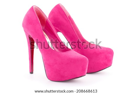 Pink shoes isolated on white background. - stock photo