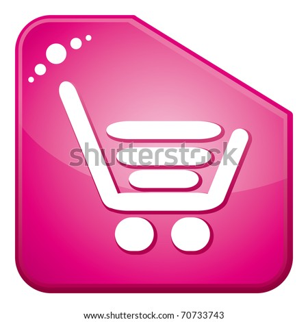 Pink shopping cart button. - stock photo