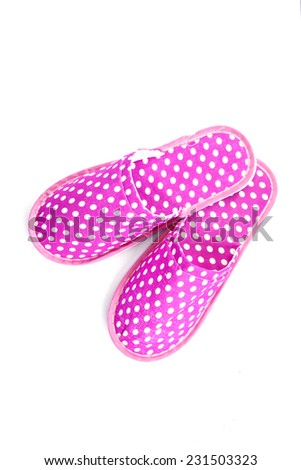 Pink slippers on a white background - stock photo