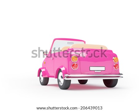 Pink small car cabriolet back view on white background - stock photo