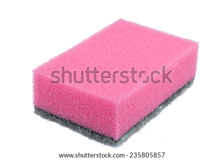 pink sponge isolated on a white background - stock photo