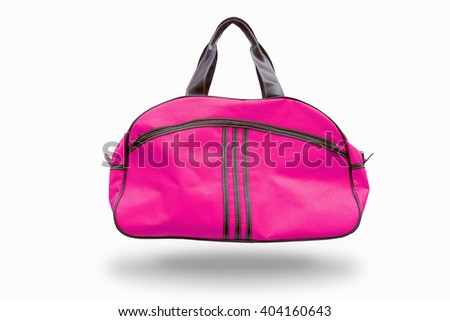 pink sports bag,with clipping path - stock photo