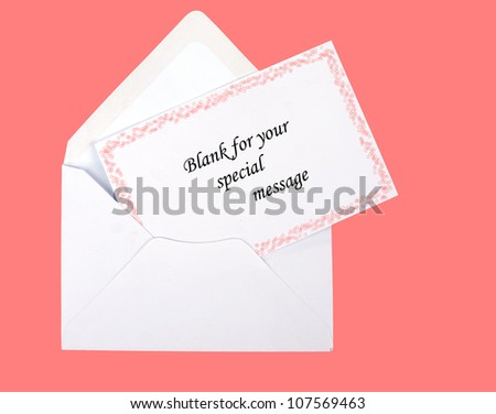 Pink starry gift card and envelope, blank, over pink - girly - stock photo
