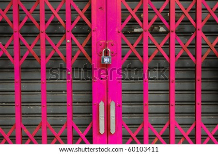 Pink steel door can be used for interior design - stock photo