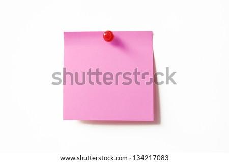 Pink sticky note on white background - stock photo