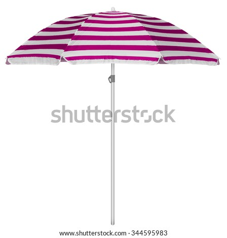 Pink striped beach umbrella isolated on white. Clipping path included. - stock photo