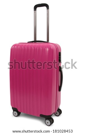 pink suitcase isolated on white background  - stock photo