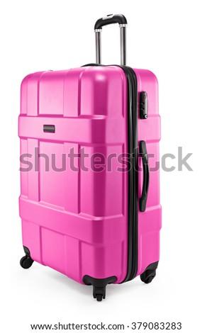 pink suitcase plastic half-turned - stock photo