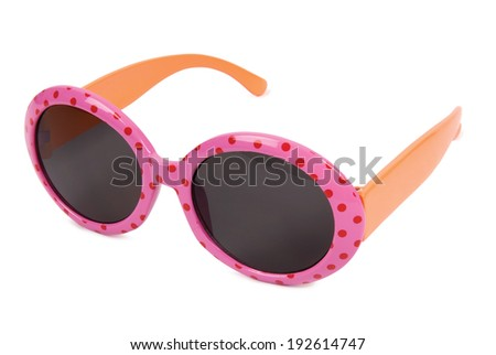 Pink sunglasses with dots on white background. Clipping path included. - stock photo