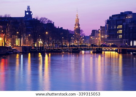 Pink sunset in Amsterdam, Netherlands. - stock photo