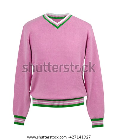 pink sweater isolated on white background - stock photo