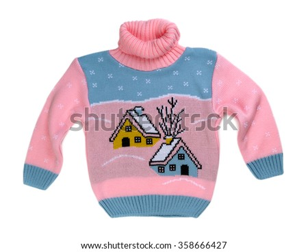 Pink sweater with a pattern of the house. Isolate on white. - stock photo