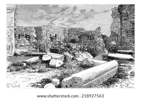 Pink Syenite Columns of the Crusader Cathedral Ruins in Tyre, Lebanon, vintage engraved illustration. Le Tour du Monde, Travel Journal, 1881 - stock photo