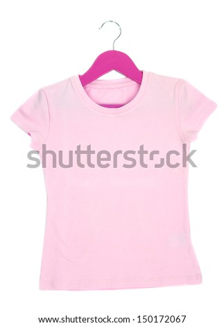 Pink t-shirt on hanger isolated on white - stock photo