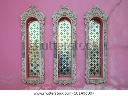 pink temple wall, india - stock photo