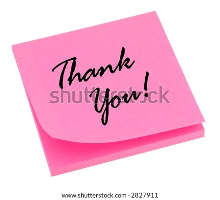 Pink thank you note isolated on white. - stock photo