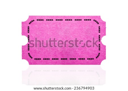 Pink ticket isolated on white background.  - stock photo