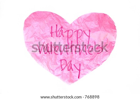 "pink tissue paper heart with ""Happy Valentine's Day"" - stock photo"