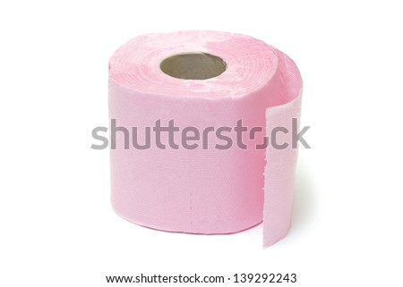 Pink toilet paper on white background - stock photo