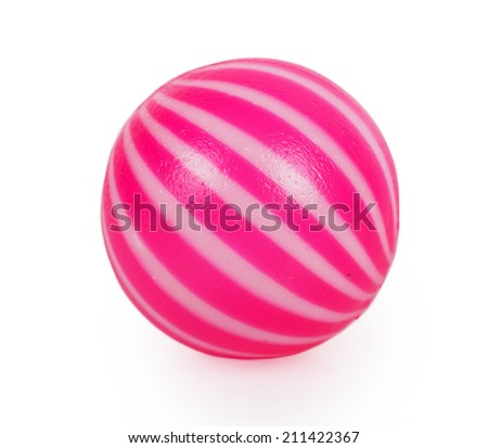 Pink toy ball isolated on white background - stock photo
