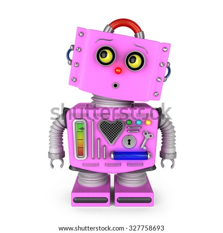 Pink toy robot girl is looking curiously into upper left corner over white background - stock photo