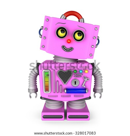 Pink toy robot girl over white background is looking into upper right corner with a smile - stock photo