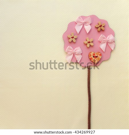 Pink Tree Crafts. Thank You or Greeting Card. - stock photo