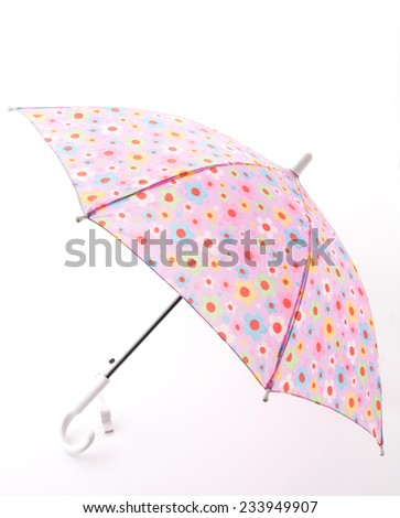 pink umbrella on white background - stock photo
