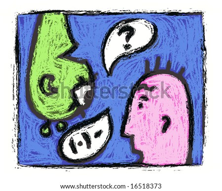 Pink usual man is trying to speak with green unusual person. - stock photo