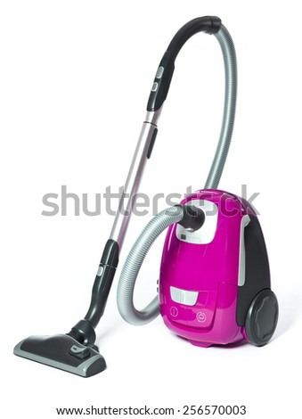 Pink Vacuum Cleaner isolated on white background - stock photo