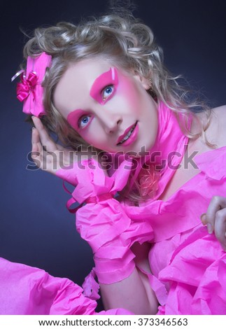 Pink valentine. Portrait of young lady in creative image. - stock photo