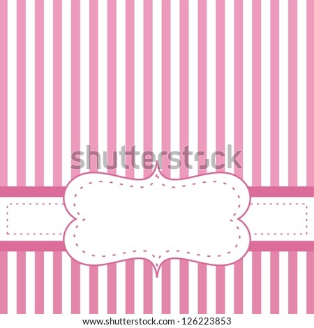 Pink valentines card or wedding invitation with white stripes on cute pink background with white space to put your own text message. . For baby shower or birthday party. - stock photo