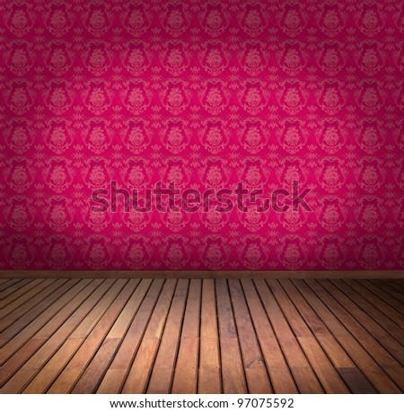 pink wallpaper room - stock photo