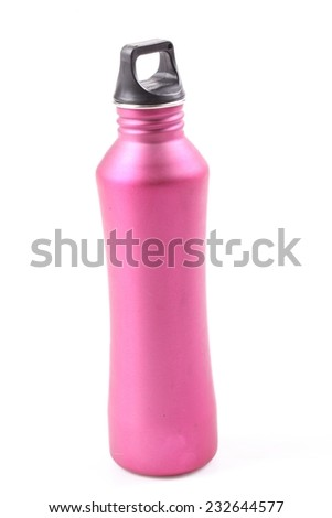Pink water bottle over white background - stock photo
