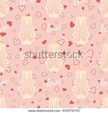 Pink wedding seamless pattern. Hangers for bride with handdrawn bride word and heart. Element for your wedding designs, valentine s day projects, and other your romantic projects. Fabric pattern - stock photo
