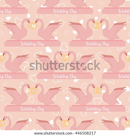 Pink wedding seamless pattern with pink swans hold gold rings. Element for your wedding designs, valentines day projects, and other your romantic projects. Romantic fabric pattern - stock photo