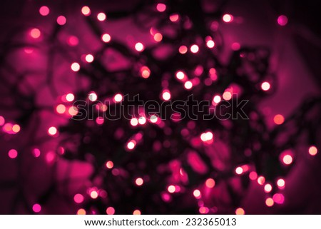 Pink white Lights on dark red background. abstract silver background with texture,  holiday bokeh. Abstract Christmas background - stock photo