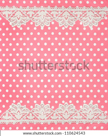 pink white polka dot background with lace border - stock photo