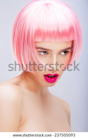 Pink wig - stock photo