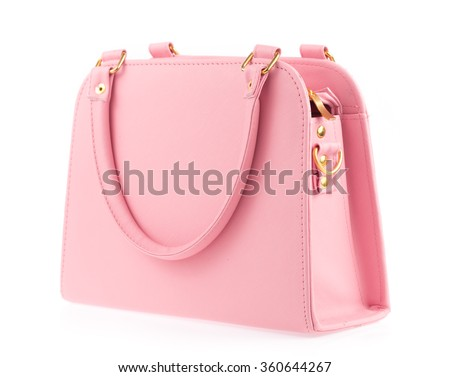 Pink woman's bag isolated on white background - stock photo