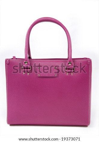 pink woman's handbag - stock photo