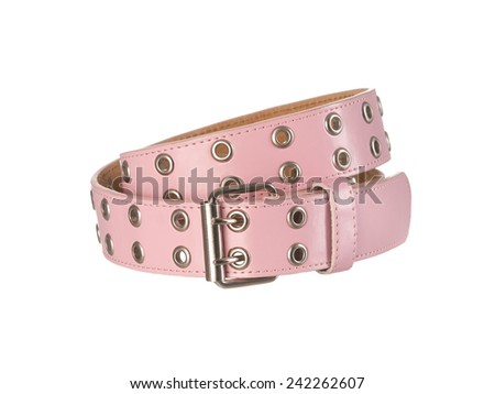 Pink women's belt with holes isolated on white background - stock photo