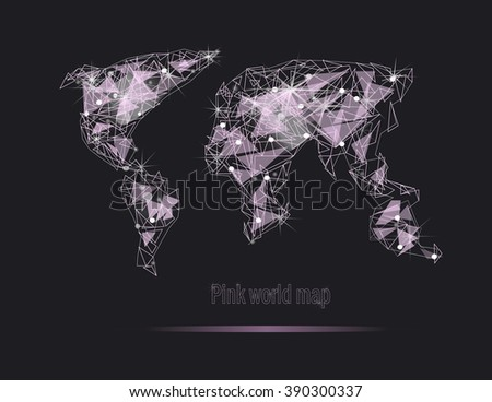 Pink world map diamond shines. Polygonal world map. Global travel geography and connect, continent and planet - stock photo